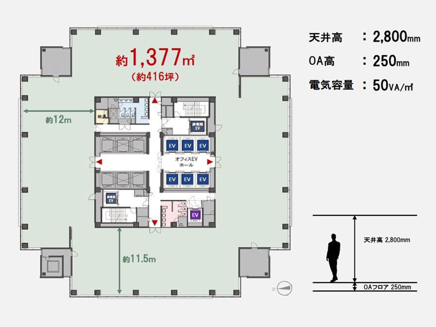 NBF品川タワー 基準階平面図