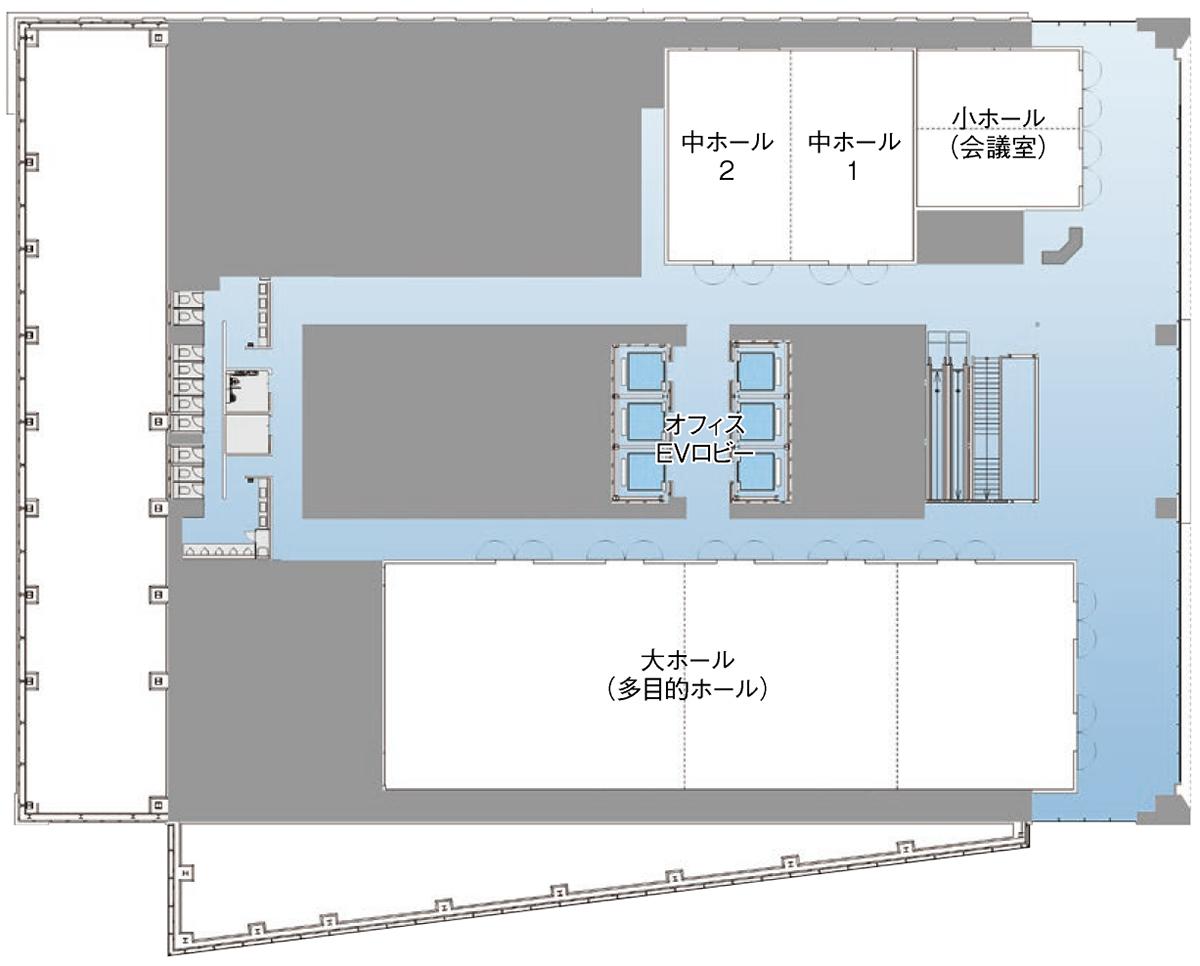 オービック御堂筋ビル ホール(平面図)