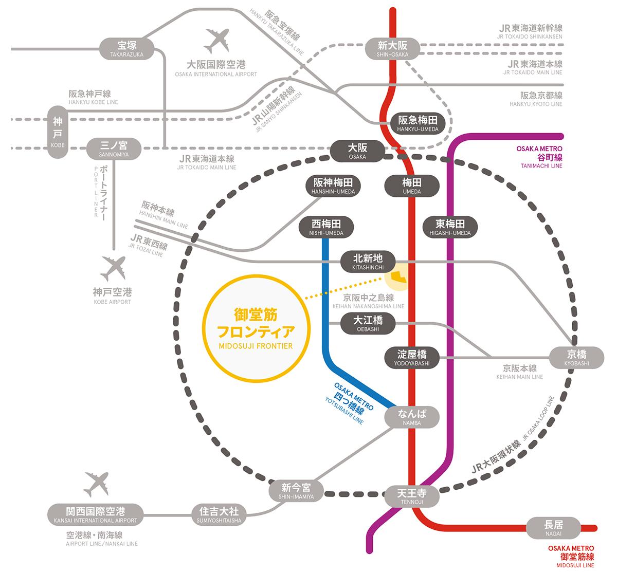 WeWork御堂筋フロンティ 路線マップ
