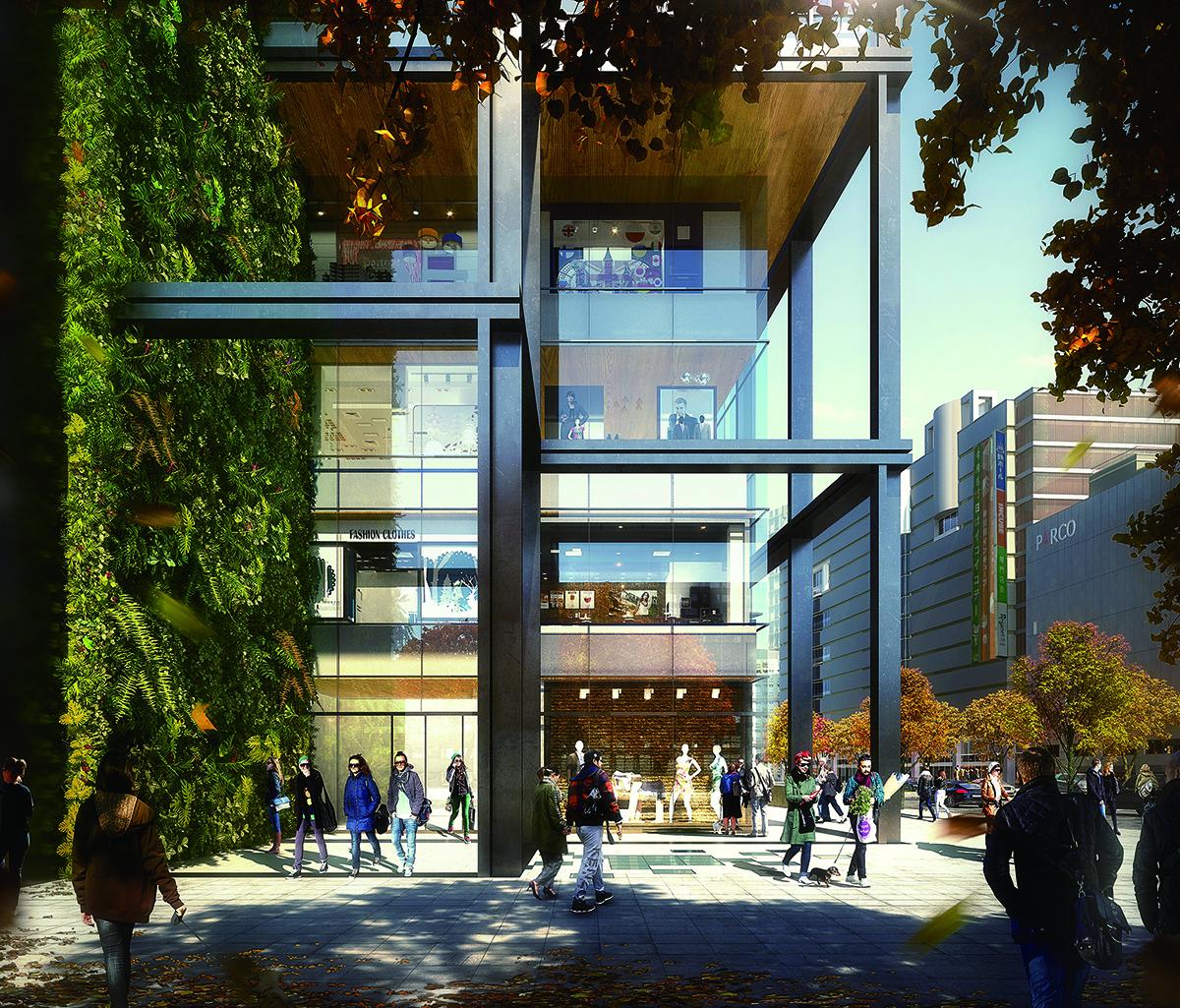 福ビル街区建替プロジェクト 1Fエントランス〈イメージパース〉