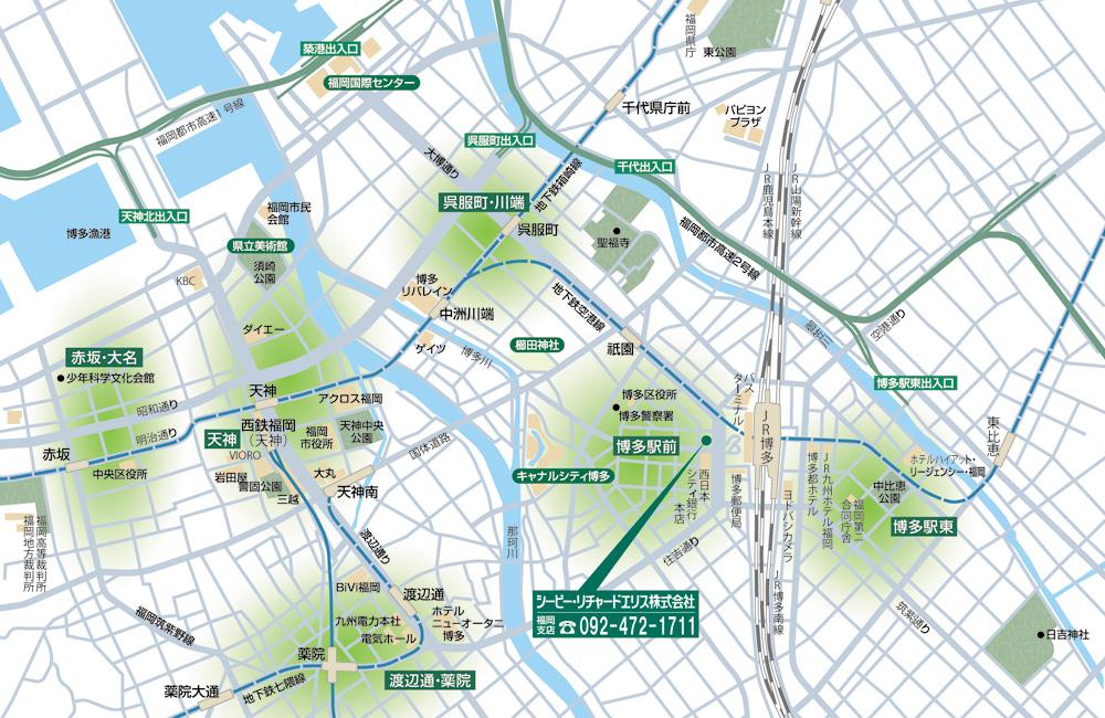 全国主要都市ビジネスゾーンガイド 福岡 MAP