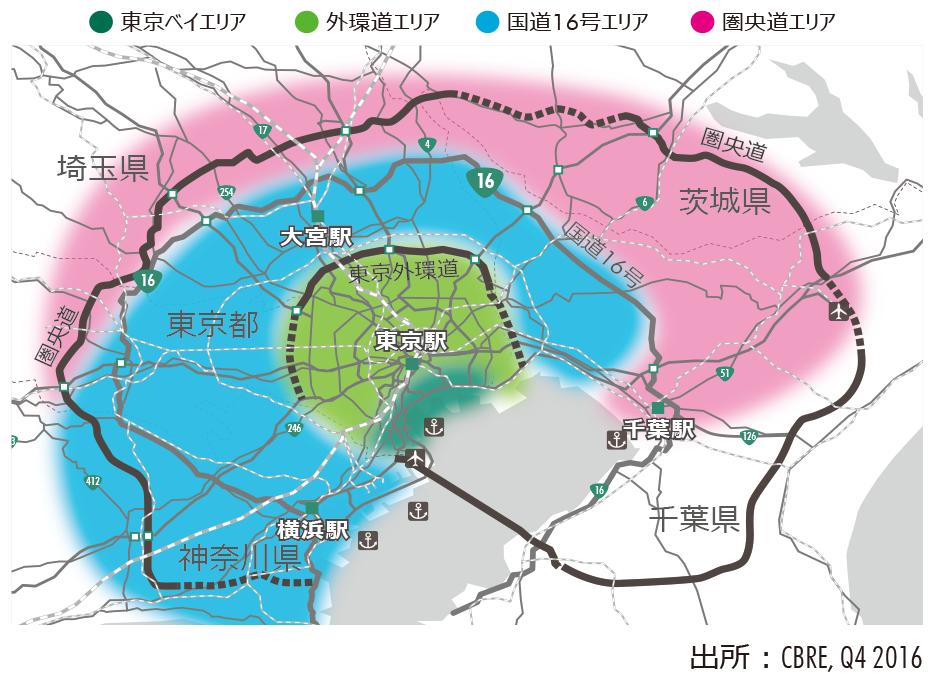Figure5:首都圏の物流主要4エリアマップ