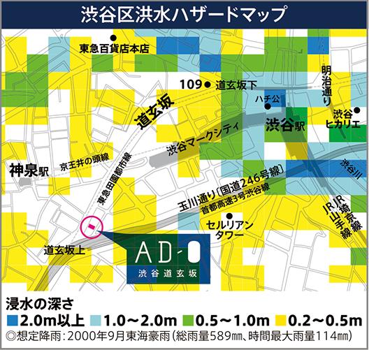 渋谷区洪水ハザードマップ