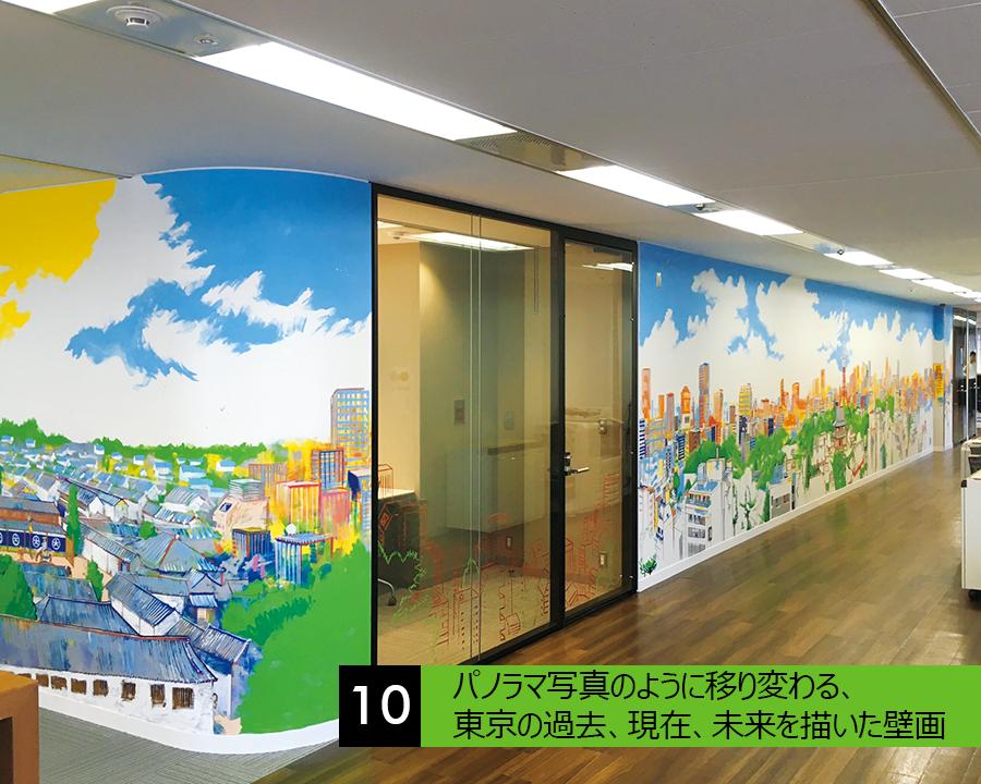 パノラマ写真のように移り変わる、東京の過去、現在、未来を描いた壁画