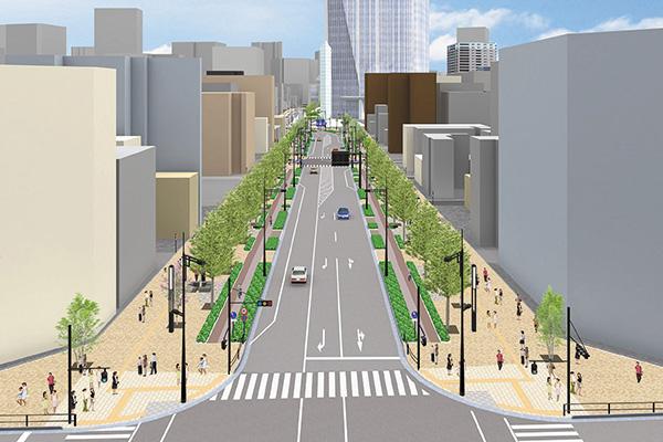 日比谷通り側から見た新虎通りの将来イメージ