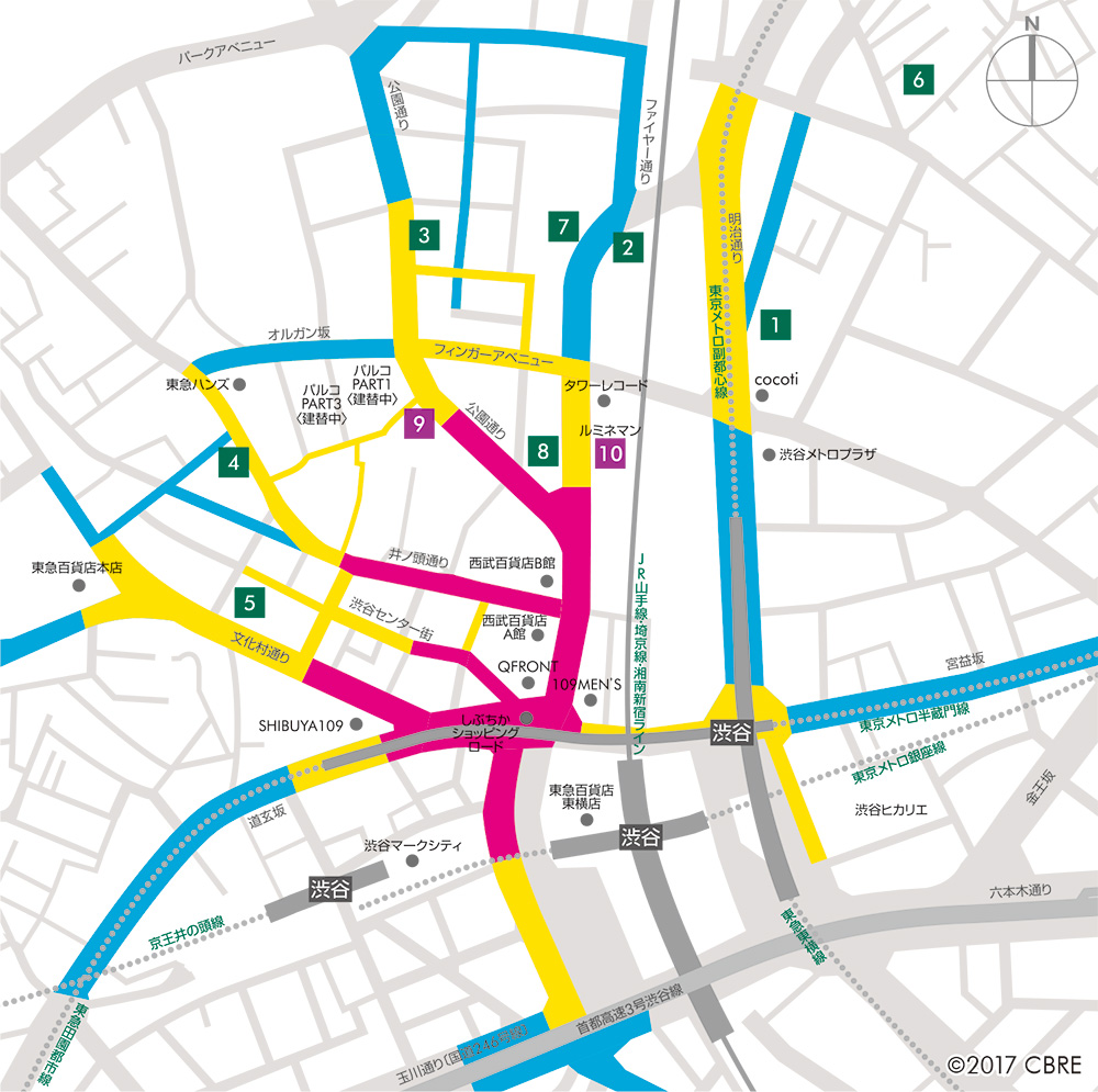 渋谷エリアの路面店舗賃料相場マップ
