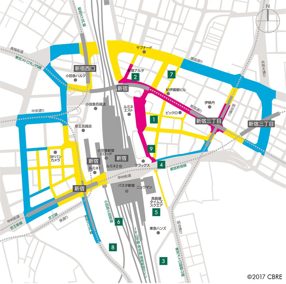 新宿エリアの路面店舗賃料相場マップ