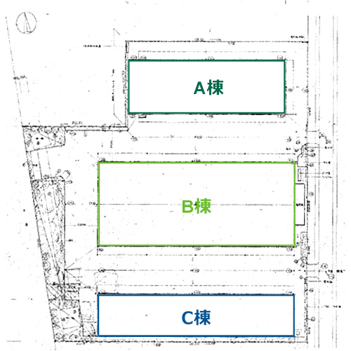 船橋西浦物流センターII A・B・C棟 配置図