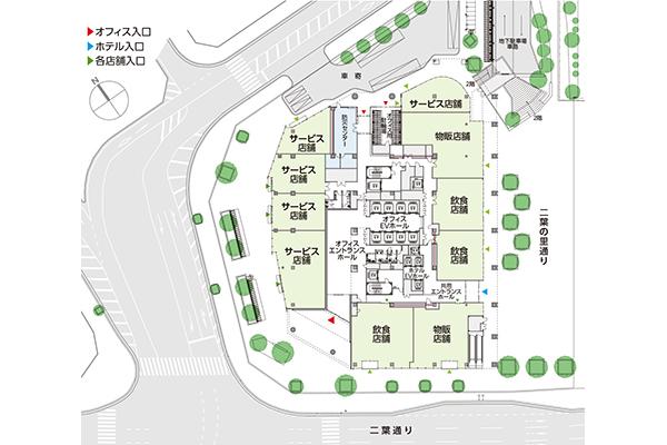 (仮称)二葉の里プロジェクト 1階敷地配置図