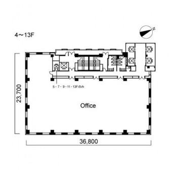 4階〜13階 平面図
