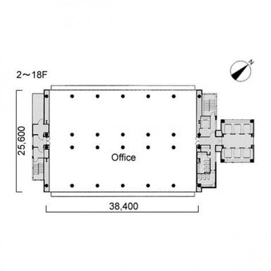 2階〜18階 平面図