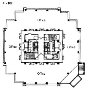 4階〜10階 平面図