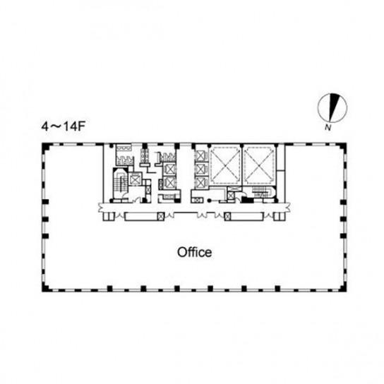 4階〜14階 平面図