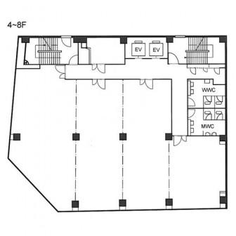 4階〜8階 平面図