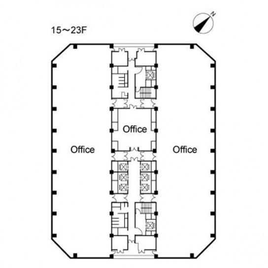 15階〜23階 平面図