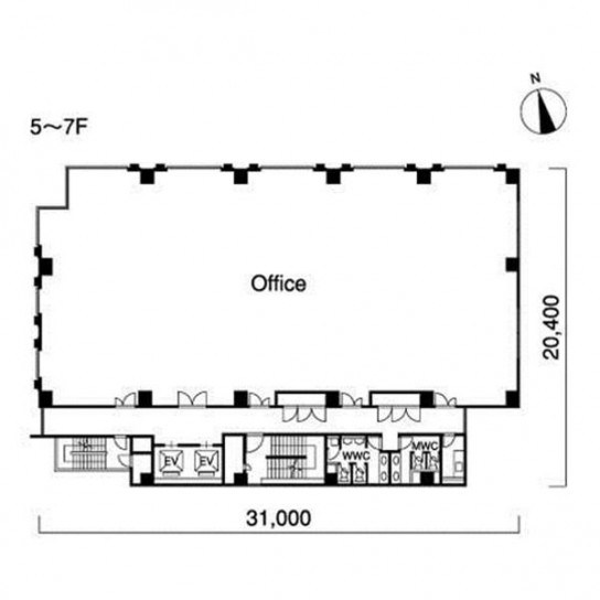 5階〜7階 平面図