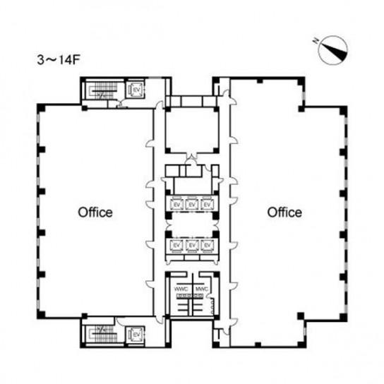 3階〜14階 平面図