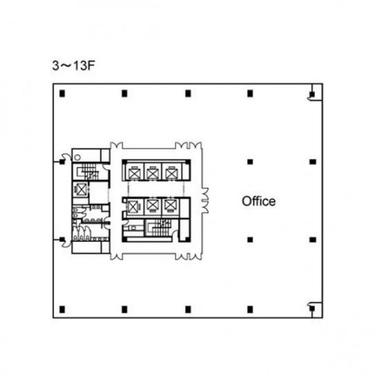 3階〜13階 平面図