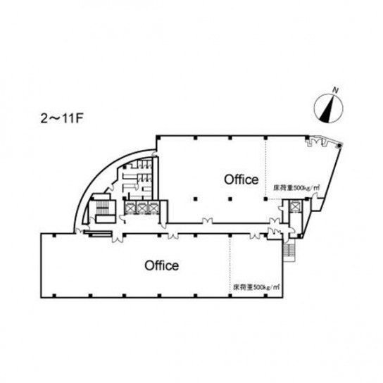2階〜11階 平面図