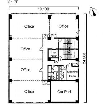 2階〜7階 平面図