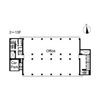 2階〜13階 平面図