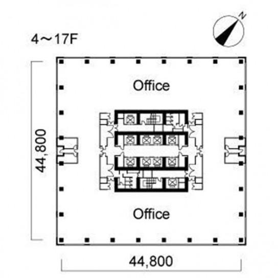 4階〜17階 平面図