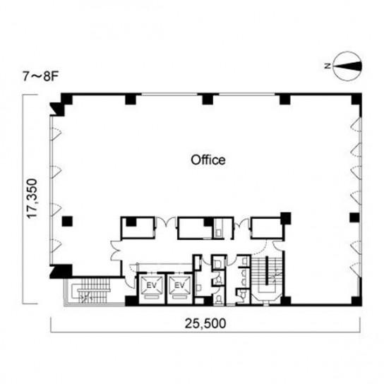 7階〜8階 平面図