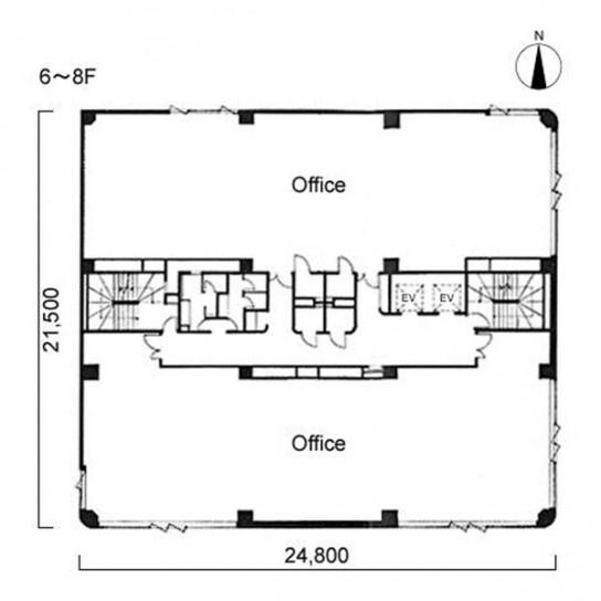 6階〜8階 平面図
