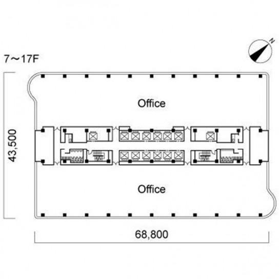 7階〜17階 平面図