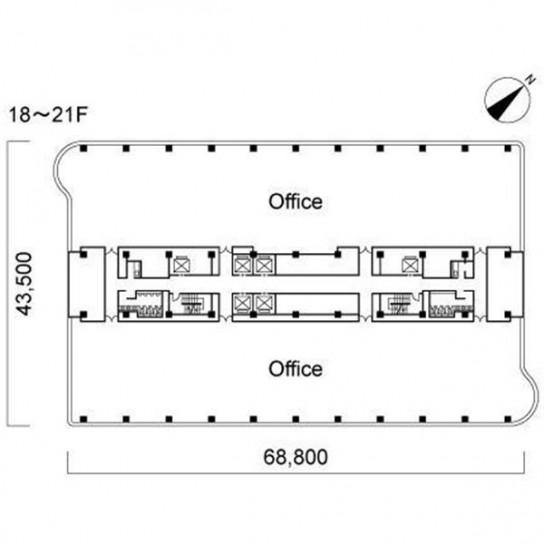 18階〜21階 平面図
