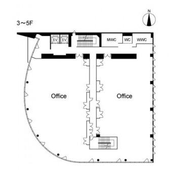 3階〜5階 平面図