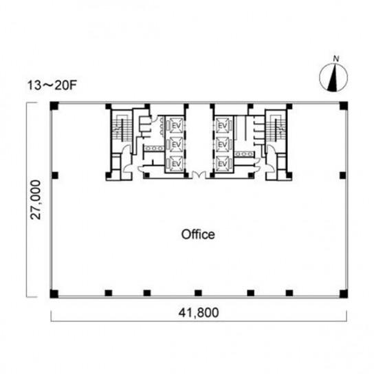 13階〜20階 平面図