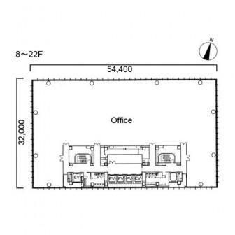 8階〜22階 平面図