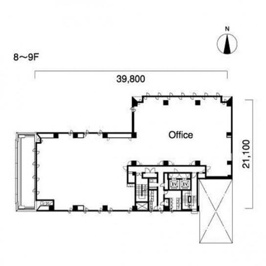 8階〜9階 平面図
