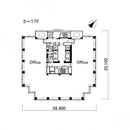3階〜17階 平面図
