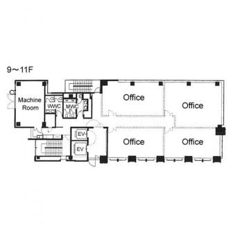 9階〜11階 平面図