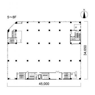 5階〜8階 平面図