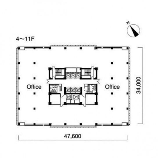 4階〜11階 平面図