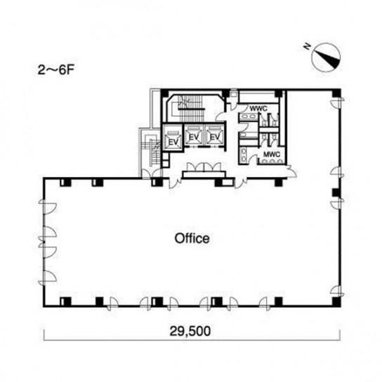 2階〜6階 平面図