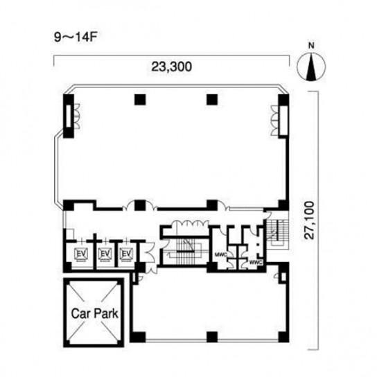 9階〜14階 平面図