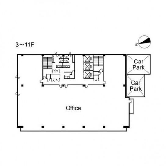 3階〜11階 平面図