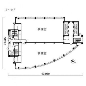 8階〜11階 平面図