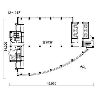 12階〜21階 平面図
