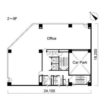 2階〜9階 平面図