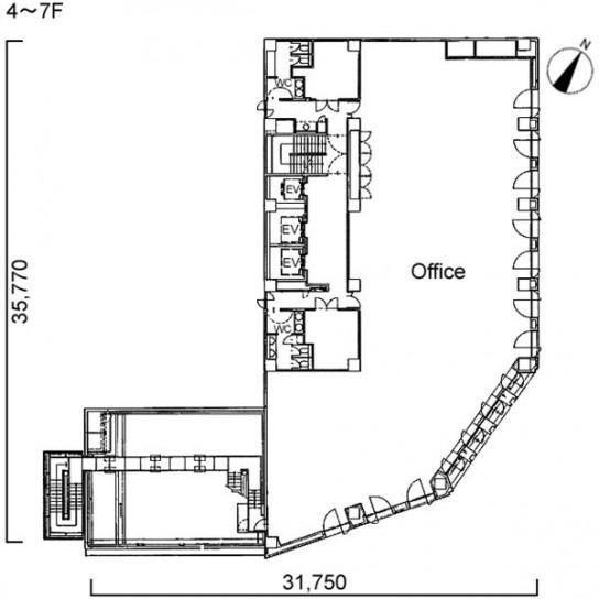 4階〜7階 平面図