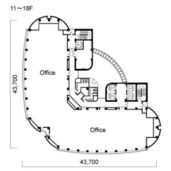 11階〜18階 平面図