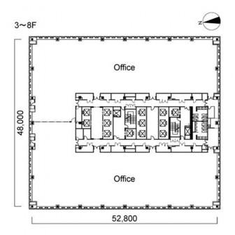 3階〜8階 平面図