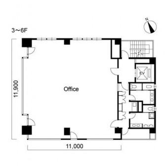 3階〜6階 平面図