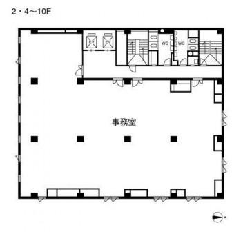 2階〜4階 平面図