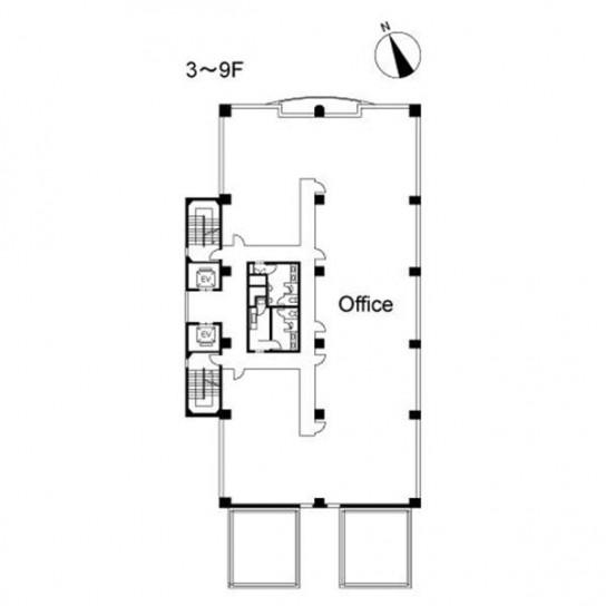 3階〜9階 平面図